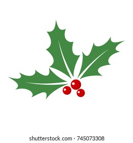 Christmas holly berry leaves isolated. Vector illustration. Traditional Christmas decoration in flat design.