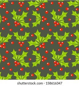 Christmas holly berry seamless pattern. Vector illustration