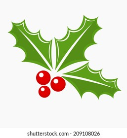 Christmas holly berry symbol. Vector illustration