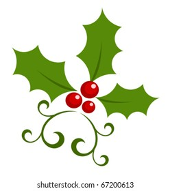 Christmas holly berry symbol. Vector icon