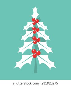 Christmas holly berry tree. Vector illustration