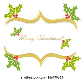 Christmas holly border decoration. Vector greeting card background