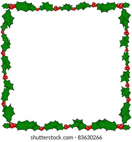 Christmas holly border frame vector with copy space