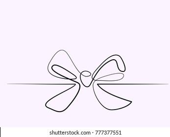 Christmas Holly Decoration Bow-knot. Continuous line different width drawing. Vector illustration