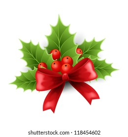 Christmas holly decoration with red ribbon