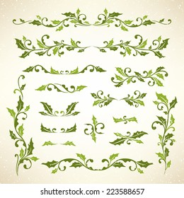Christmas holly dividers set