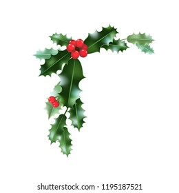 Christmas holly elements. Nature holiday set. Festive design for cards, invitation, poster, banner, advertising and so on.