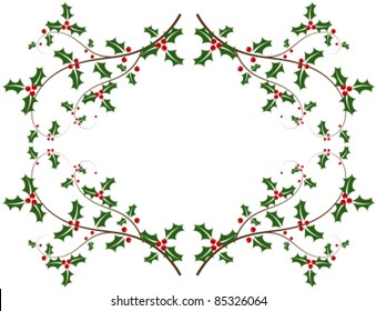 Christmas holly frame - vector background