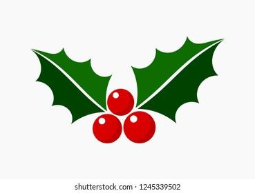 Christmas holly icon symbol. Vector illustration.