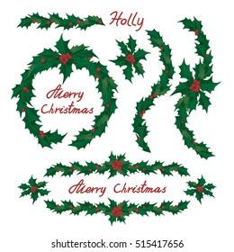 Christmas holly tree wreaths and ornaments, vector clip-art.