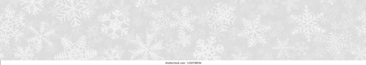 Christmas horizontal banner of many layers of snowflakes of different shapes, sizes and transparency. White on gray.