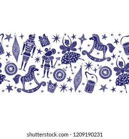 Christmas horizontal vector seamless Nutcracker pattern.  Seamless pattern can be used for wallpaper, pattern fills, web page background, surface textures.