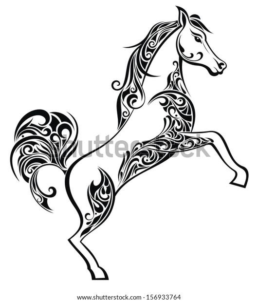 Christmas Horse Drawing.Christmas Horse Stock Vector Royalty Free 156933764