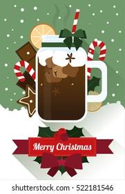 Christmas hot chocolate, flat vectors. Greeting card.