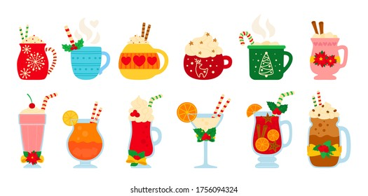 Christmas hot drink set. Flat cartoon different beverages. Holiday cute mugs hot cocoa, coffee, milk, cream and mulled wine. New year drinks decorated holly and candy. Isolated vector illustration