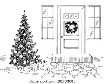 Christmas house exterior winter graphic black white landscape sketch illustration vector