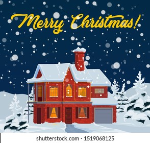 Christmas house with falling snow vector greeting card of New Year winter holidays design. Home facade, windows and door, decorated by Xmas lights with snowy landscape of pine and fir trees