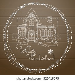 Christmas house and  handwritten words Winter Wonderland  on  a brown wooden background.  Celebrations vector illustration.