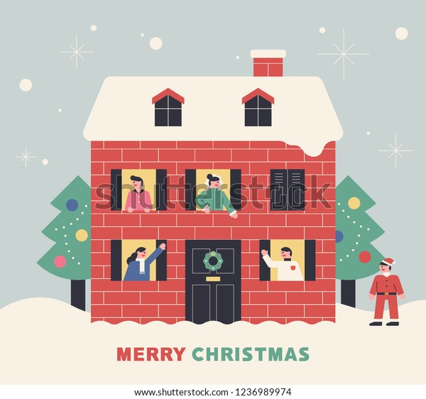 Christmas House Illustration Greeting Card Template Stock