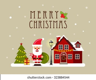 Christmas house and Santa. Greeting card, banner and poster. Vector illustration.