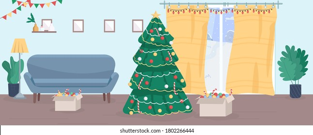 Christmas house semi flat vector illustration. New Year eve in household. Christmas tree for family decoration. Winter holiday. Toys and garland. Festive 2D cartoon interior for commercial use