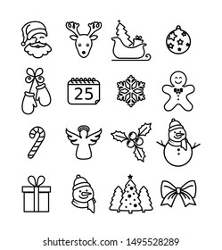 Christmas icon collection - thin line style, vector
