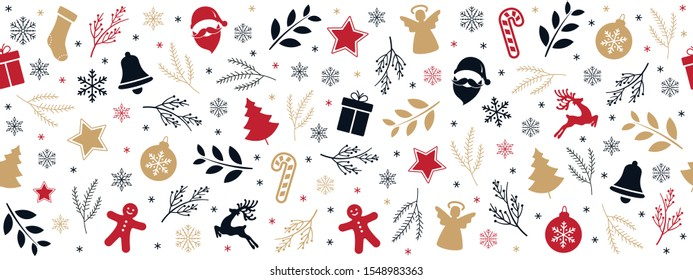 Christmas icon elements golden black red border pattern isolated white background.
