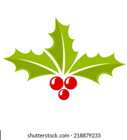 Christmas icon holly berry symbol. Vector illustration