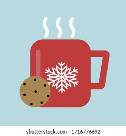 Christmas icon of hot cocoa with ginger cookies