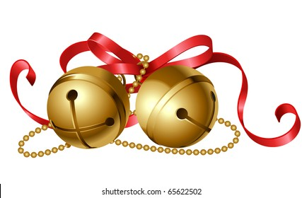 christmas icon of jingle bells with red bow