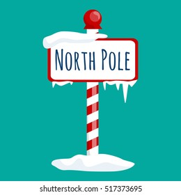 christmas icon north pole sign with snow and ice, winter holiday xmas symbol, cartoon banner