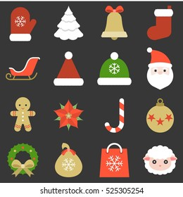 Christmas icon, ornaments and decoration, flat design