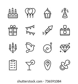 Christmas icon set. Collection of high quality outline holiday pictograms in modern flat style. Black decoration symbol for web design and mobile app on white background. Ornament line logo.
