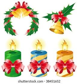 Christmas icon set of five element - bell candles wreath
