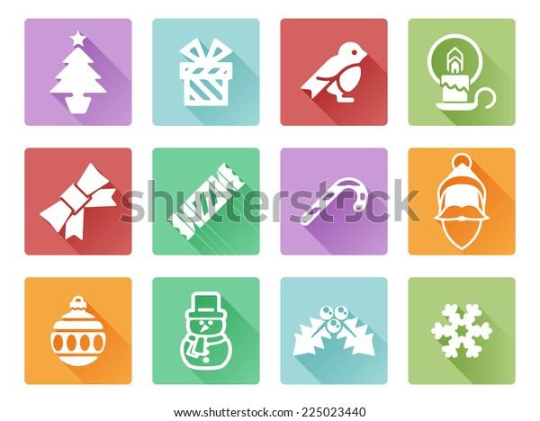 Christmas icon set including Santa, snow flake, cracker, holly, ribbon and lots more