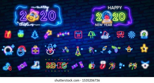 Christmas icon set. Merry Christmas and Happy New Year. Set neon icon, label, emblem. Bright signboard, light banner. Vector illustration