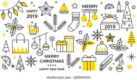 christmas icon set with snowflakes, hats, star, christmas tree, balls, orange, sock, gift, drink and garlands. Vector icons for business and holidays