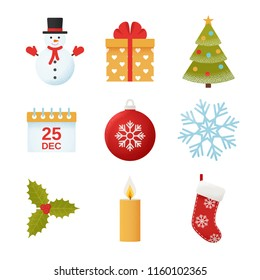Christmas icon. Vector. Winter icons set in flat design isolated on white background. Cartoon colorful illustration.