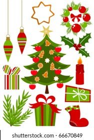 Christmas icons ans symbols collection in red and green colors. Vector illustration
