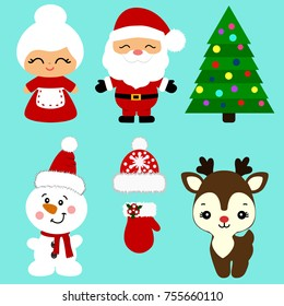 Christmas icons. Collection. Santa. New Year. Christmas decoration. Vector illustration