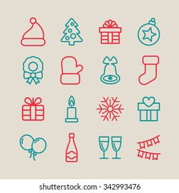 Christmas icons. Christmas decoration. Holiday icons.