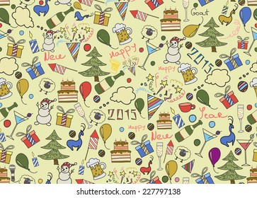 Christmas icons doodle seamless background