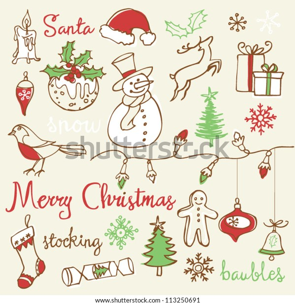 Christmas icons doodles