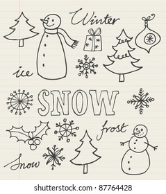 Christmas icons doodles vector