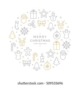 christmas icons elements circle gold gray white background