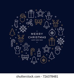 christmas icons elements wreath circle golden white blue background