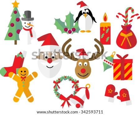 Christmas Icons Flat Style Christmas Clipart Stock Vector Royalty