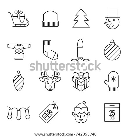 Christmas icons - Gifts, discounts and decoration