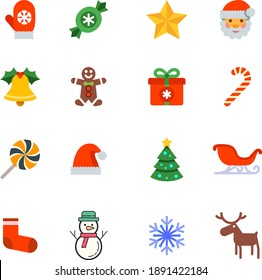 Christmas icons of gingerbread Santa hat candy reindeer sledge tree decoration snowman socks bell hand gloves chocolate stars gifts present snowflakes