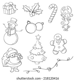 Christmas icons hand drawn in Illustrator with brush and pencil stroke. Lines only, no fill, image is transparent